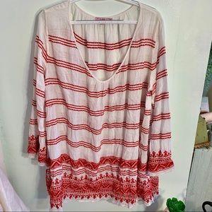 •Calypso St. Barth• Embroidered Striped Tunic